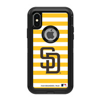 OtterBox Black Phone case with San Diego Padres Primary Logo and Striped Design