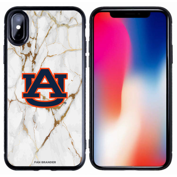 Fan Brander Black Slim Phone case with Auburn Tigers White Marble design