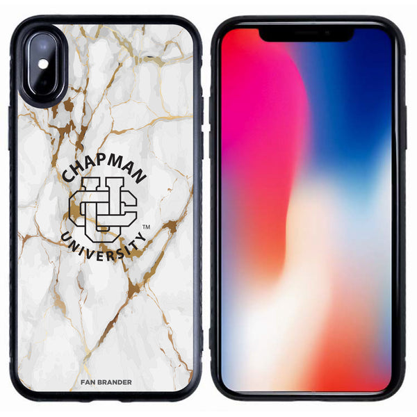 Fan Brander Black Slim Phone case with Chapman Univ Panthers White Marble design