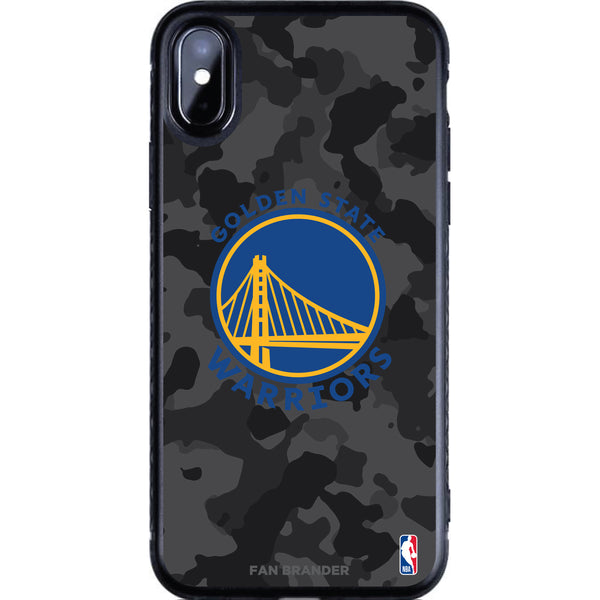 Fan Brander Black Slim Phone case with Golden State Warriors Primary Logo with Urban Camo Background