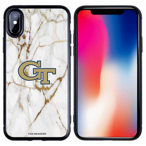 Fan Brander Black Slim Phone case with Georgia Tech Yellow Jackets White Marble design
