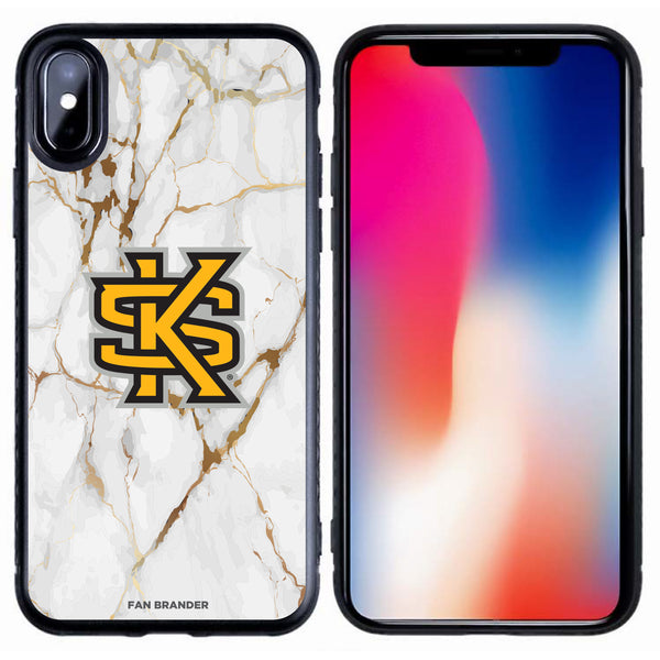 Fan Brander Black Slim Phone case with Kennesaw State Owls White Marble design