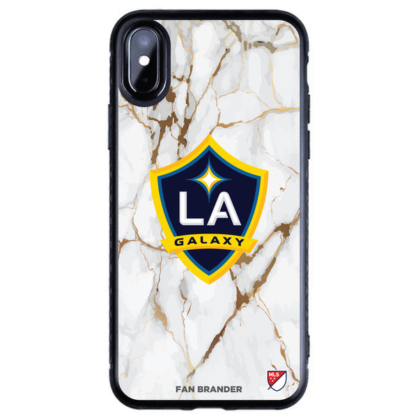 Fan Brander Black Slim Phone case with LA Galaxy White Marble design
