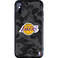 Fan Brander Black Slim Phone case with LA Lakers Primary Logo with Urban Camo Background