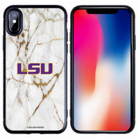 Fan Brander Black Slim Phone case with LSU Tigers White Marble design