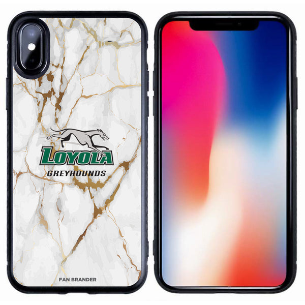 Fan Brander Black Slim Phone case with Loyola Univ Of Maryland Hounds White Marble design
