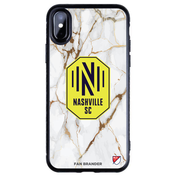 Fan Brander Black Slim Phone case with Nashville SC White Marble design