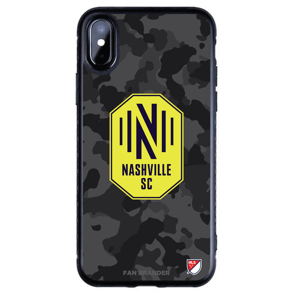 Fan Brander Black Slim Phone case with Nashville SC Urban Camo design