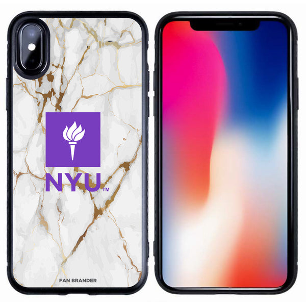 Fan Brander Black Slim Phone case with NYU White Marble design