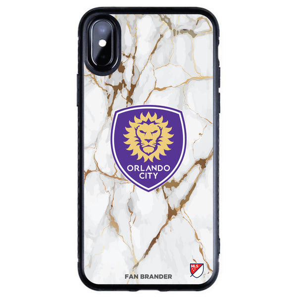 Fan Brander Black Slim Phone case with Orlando City SC White Marble design