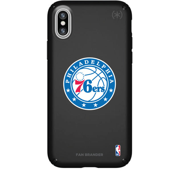 Speck Black Presidio Series Phone case with Philadelphia 76ers Primary Logo
