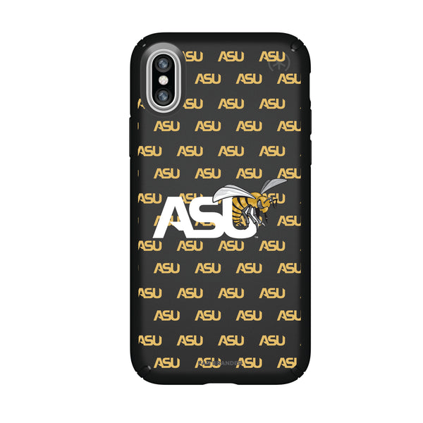 Speck Black Presidio Series Phone case with Alabama State Hornets Primary Logo on Repeating Wordmark Background