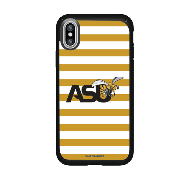 Speck Black Presidio Series Phone case with Alabama State Hornets Primary Logo and Striped Design