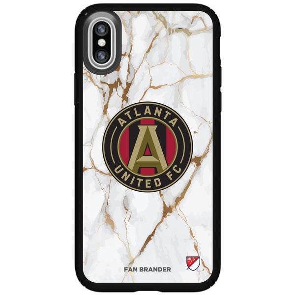 Speck Black Presidio Series Phone case with Atlanta United FC White Marble Background