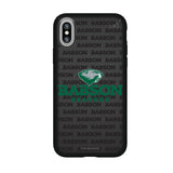 Speck Black Presidio Series Phone case with Babson University Primary Logo on Repeating Wordmark Background