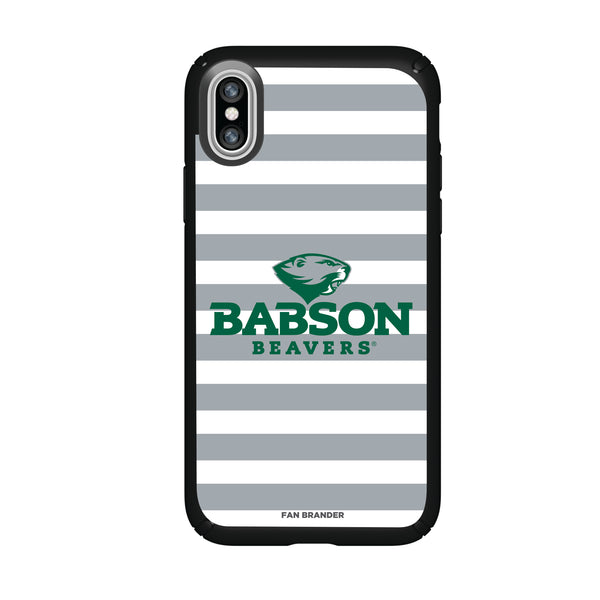 Speck Black Presidio Series Phone case with Babson University Primary Logo and Striped Design