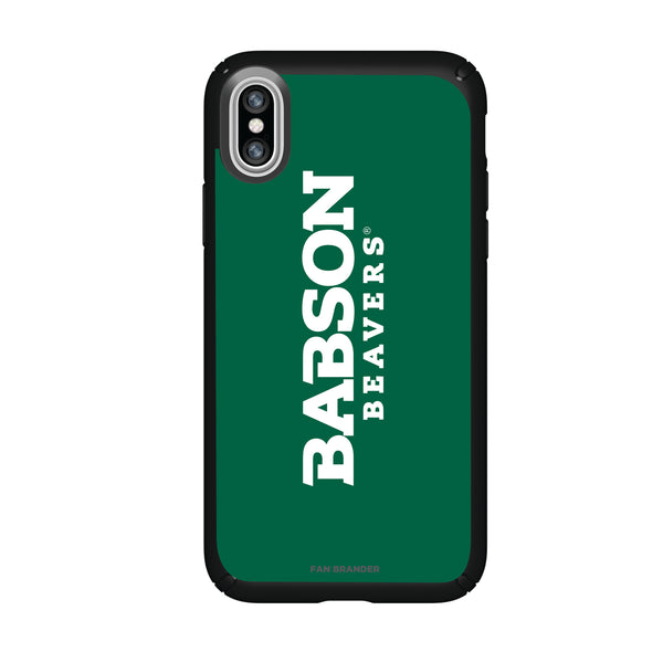 Speck Black Presidio Series Phone case with Babson University Wordmark Design