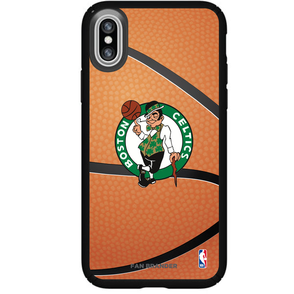 Speck Black Presidio Series Phone case with Boston Celtics Basketball background
