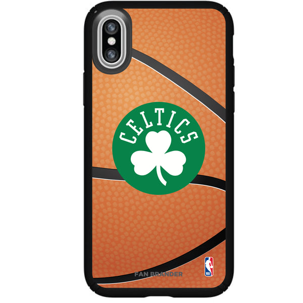 Speck Black Presidio Series Phone case with Boston Celtics Secondary logo with Basketball background