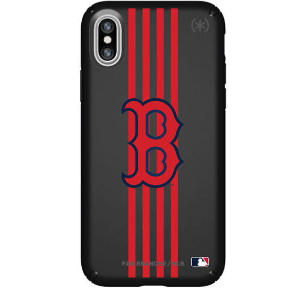 Speck Black Presidio Series Phone case with Boston Red Sox Primary Logo with Vertical Stripes