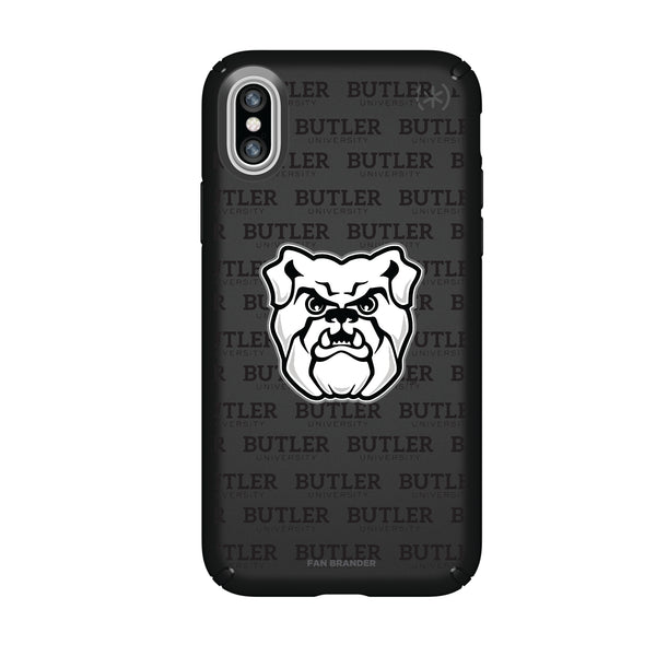 Speck Black Presidio Series Phone case with Butler Bulldogs Primary Logo on Repeating Wordmark Background