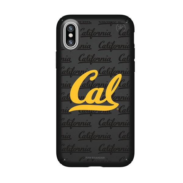 Speck Black Presidio Series Phone case with California Bears Primary Logo on Repeating Wordmark Background