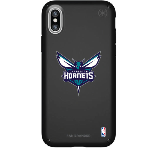 Speck Black Presidio Series Phone case with Charlotte Hornets Primary Logo