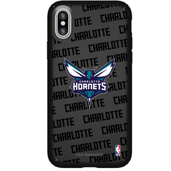 Speck Black Presidio Series Phone case with Charlotte Hornets Primary Logo with Repeating Wordmark