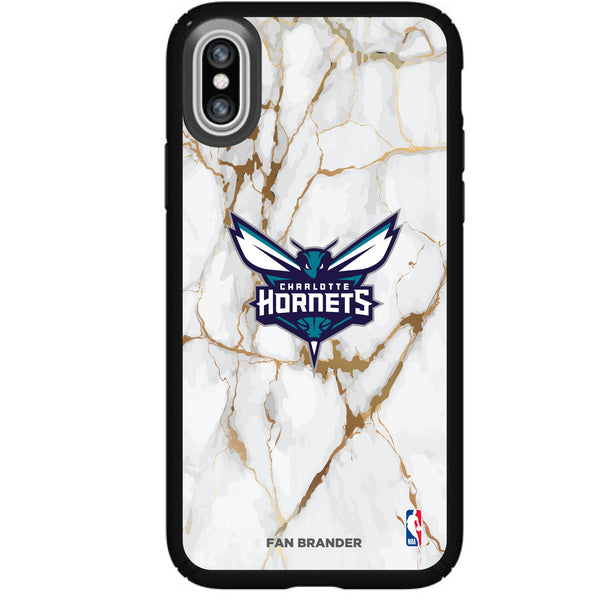 Speck Black Presidio Series Phone case with Charlotte Hornets White Marble Background