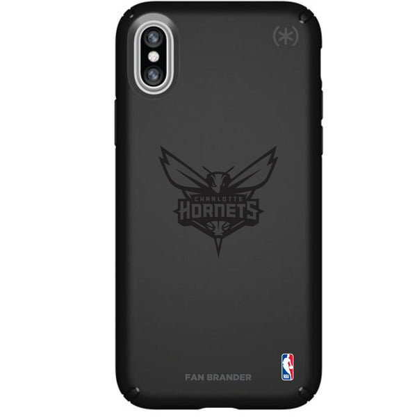 Speck Black Presidio Series Phone case with Charlotte Hornets Primary Logo In Black