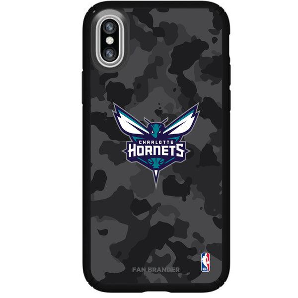 Speck Black Presidio Series Phone case with Charlotte Hornets Urban Camo Background