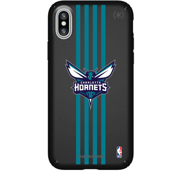 Speck Black Presidio Series Phone case with Charlotte Hornets Vertical Stripes