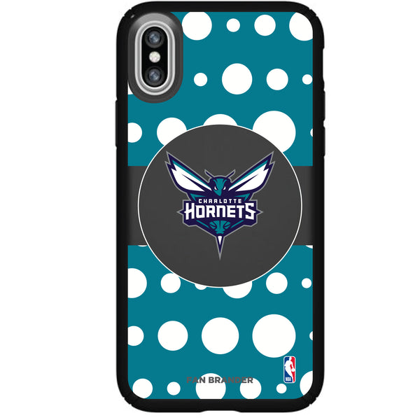 Speck Black Presidio Series Phone case with Charlotte Hornets Polka Dot Design