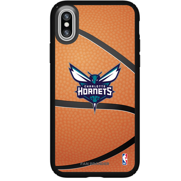 Speck Black Presidio Series Phone case with Charlotte Hornets Basketball background