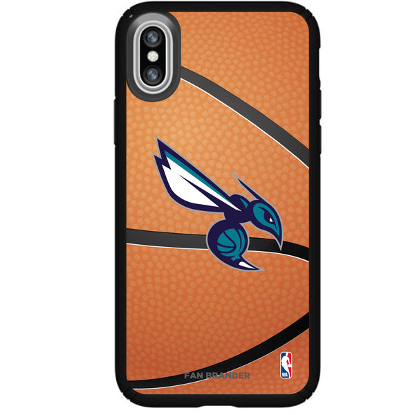 Speck Black Presidio Series Phone case with Charlotte Hornets Secondary logo with Basketball background