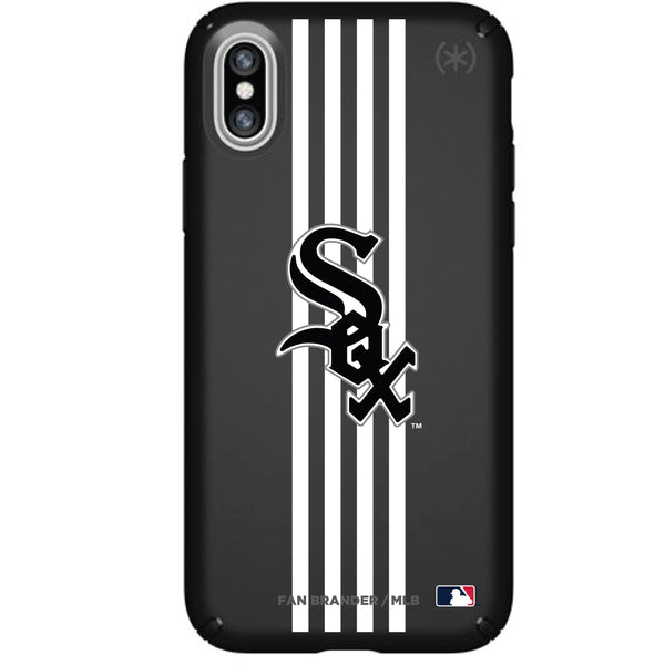 Speck Black Presidio Series Phone case with Chicago White Sox Primary Logo with Vertical Stripes