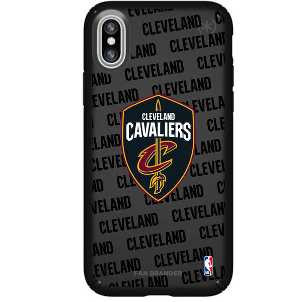 Speck Black Presidio Series Phone case with Cleveland Cavaliers Primary Logo with Repeating Wordmark
