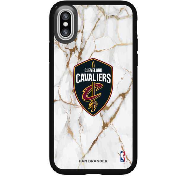 Speck Black Presidio Series Phone case with Cleveland Cavaliers White Marble Background