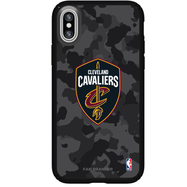 Speck Black Presidio Series Phone case with Cleveland Cavaliers Urban Camo Background