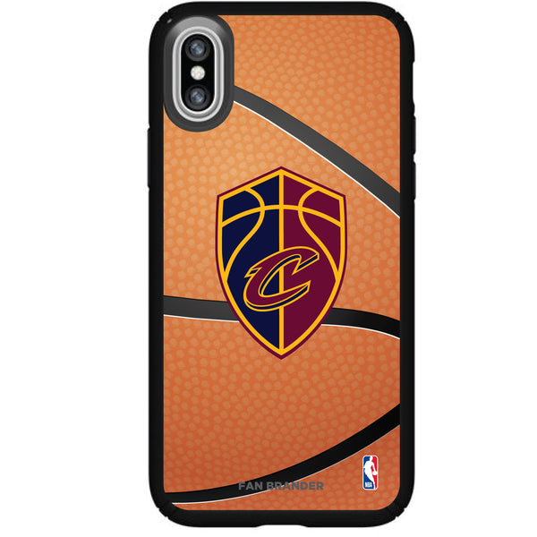 Speck Black Presidio Series Phone case with Cleveland Cavaliers Secondary logo with Basketball background