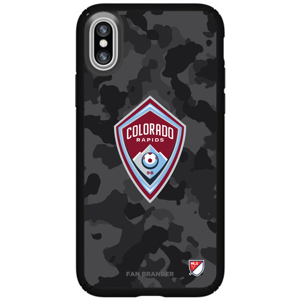 Speck Black Presidio Series Phone case with Colorado Rapids Urban Camo Background