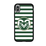 Speck Black Presidio Series Phone case with Colorado State Rams Primary Logo and Striped Design