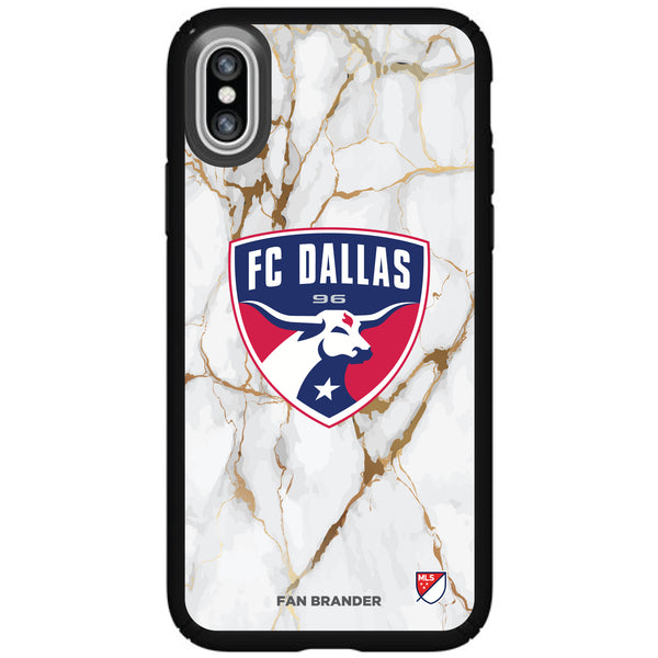 Speck Black Presidio Series Phone case with FC Dallas White Marble Background