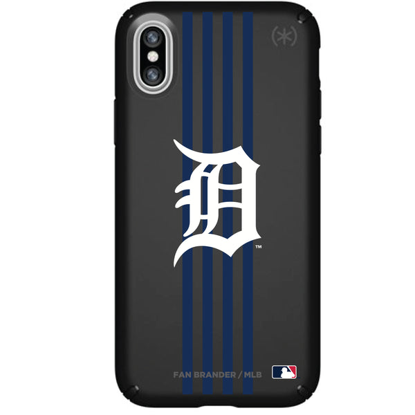Speck Black Presidio Series Phone case with Detroit Tigers Primary Logo with Vertical Stripes