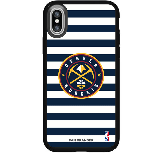 Speck Black Presidio Series Phone case with Denver Nuggets Striped Design