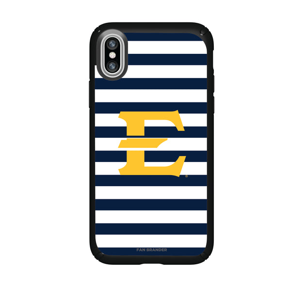 Speck Black Presidio Series Phone case with Eastern Tennessee State Buccaneers Primary Logo and Striped Design