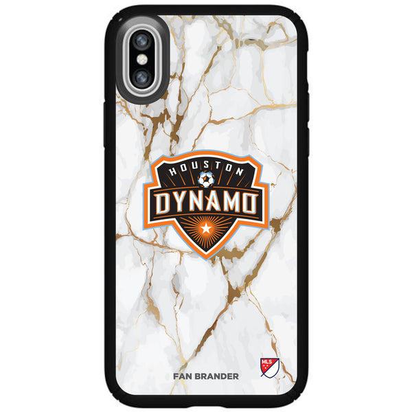Speck Black Presidio Series Phone case with Houston Dynamo White Marble Background