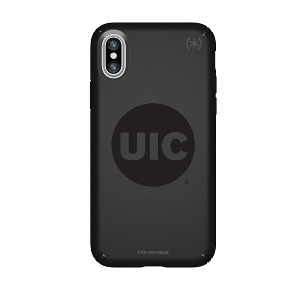 Speck Black Presidio Series Phone case with Illinois @ Chicago Flames Primary Logo in Black