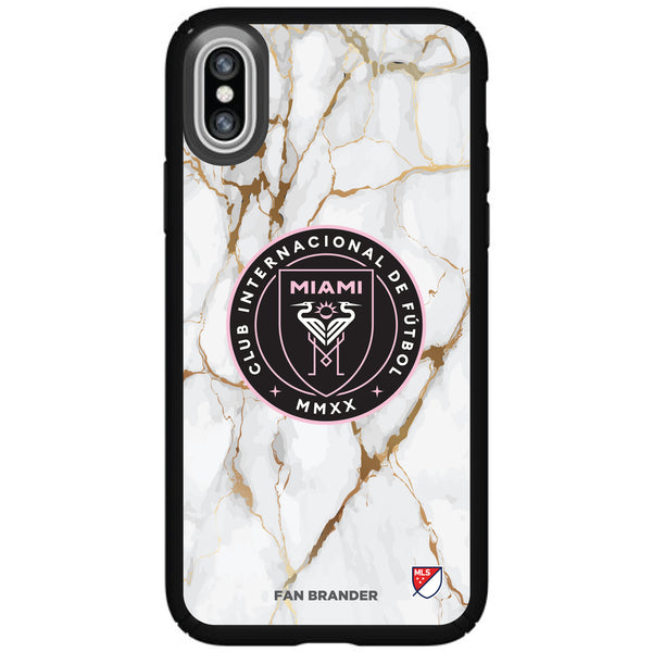 Speck Black Presidio Series Phone case with Inter Miami CF White Marble Background