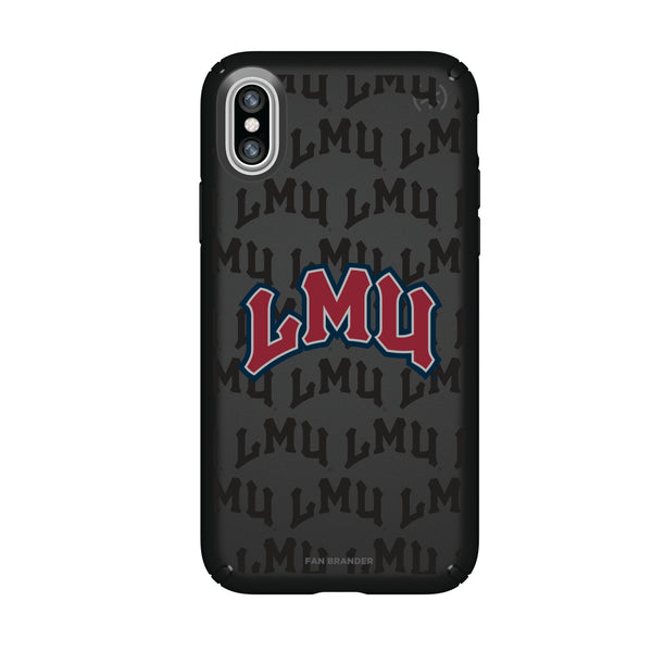 Speck Black Presidio Series Phone case with Loyola Marymount University Lions Primary Logo on Repeating Wordmark Background